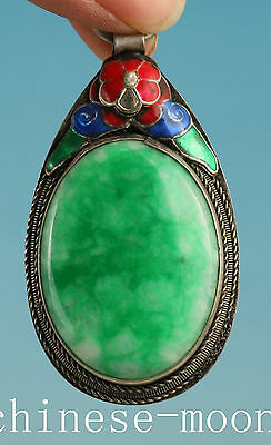 Chinese Old silver Handmade Inlay Jade Carving Flower Statue Pendant