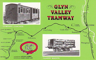 Glyn Valley Tramway - Company Coaches & Quarry Wagon Inset - Dalkieth Ppc No375
