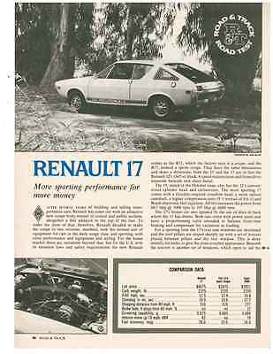 1973 Renault 17 ~ Original 3-Page Road Test / Article / Ad