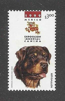 Dog Art Head Study Portrait Postage Stamp ROTTWEILER Mexico 1999 MNH