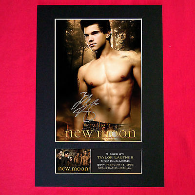 TAYLOR LAUTNER New Moon Mounted Signed Photo Reproduction Autograph Print A4 25