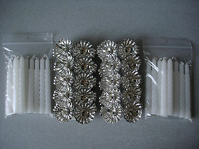 20 Metal Silver Clip On Candle Holders + 20 Twisted Candles Christmas Tree New