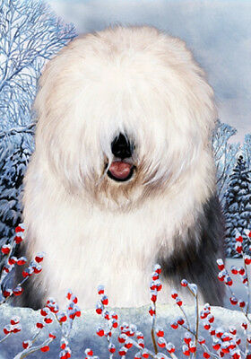 Large Indoor/Outdoor Winter Flag - Old English Sheepdog 15129