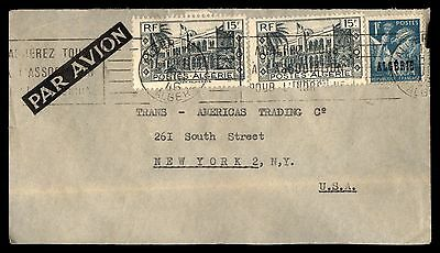 1946 Algeria Alger Air Mail To Ny Usa Cover 3 Stamps