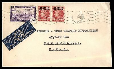 1947 Algeria Alger Rp Apr 20Th Air Mail To Ny Usa Cover 3 Stamps