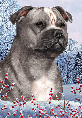 Large Indoor/Outdoor Winter Flag - Blue & White Staffordshire Bull Terrier 15248