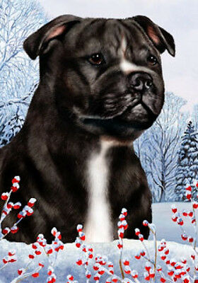 Large Indoor/Outdoor Winter Flag - Bl/Wh Staffordshire Bull Terrier 15231