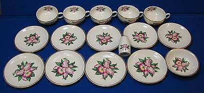 Paden City Pottery Modern Orchid 22k Gold China Dishes Set Lot Tea Cups Saucers