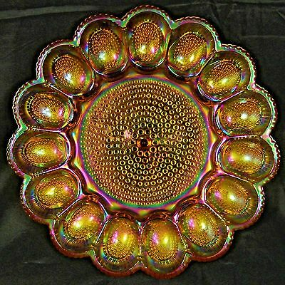Vintage Carnival Glass Hobnail Deviled or Easter Egg Dish Plate Iridescent Amber
