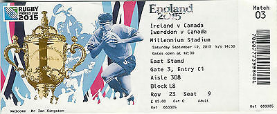 Ireland v Canada 19 Sep 2015  RUGBY WORLD CUP TICKET Pool D, Match 3 Cardiff
