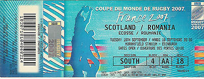 Scotland v Romania 18 Sep 2007RUGBY WORLD CUP TICKET