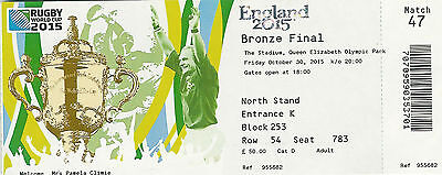 South Africa v Argentina 30 Oct 2015 RUGBY WORLD CUP TICKET Bronze Final London