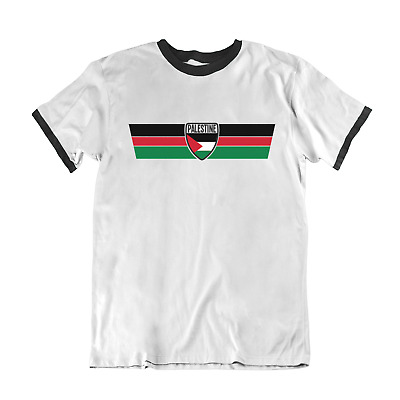 Mens Ringer T-Shirt PALESTINE RETRO STRIP Football,Olympics,Patriotism