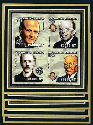 [H1733] Mozambique 2002 Rotary good very fine MNH imperf. sheet x5