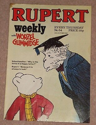 RUPERT BEAR WEEKLY COMIC NO. 54 DATED 26th OCTOBER 1983