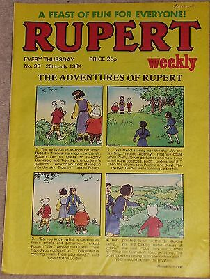 RUPERT BEAR WEEKLY COMIC NO. 93 DATED 25th JULY 1984