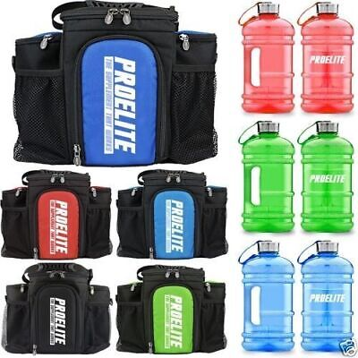 ProElite 3 Meal Management Prep Gym Fitness Meal Bag + FREE 2.2Ltrs. Gallon Jug
