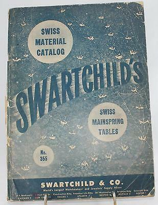 """1946 Original """"Swiss Material Catalog"""" Watchmakers & Jewelers Supply House"""