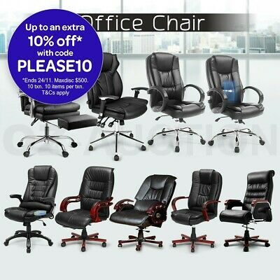 Genuine & PU Leather Office Chair Arm Computer Desk Home Executive Seat Racer