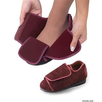 Silverts Womens Extra Wide Width Adaptive Slippers Diabetic 9, Burgundy