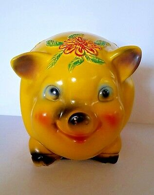 Huge Vintage Silvestri Bros Chalkware Piggy Bank Yellow with Large Flowers 1966
