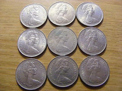 A Collection of 9 large Ten Pence Coins all 1969 - all good condition -