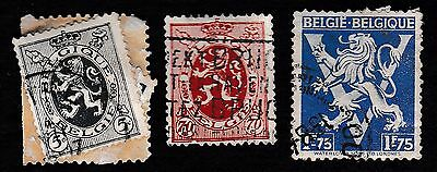 NO 418A - A Collection of 3 X Belgium Stamps,The Belgium Lion,1929, used.
