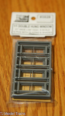 Tichy Train Group #3528 (S Scale) 1/1 Double Hung Windows (12 in pkg) Size Below