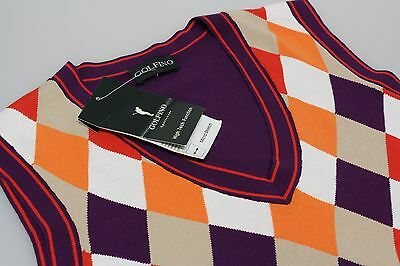 Golfino Sleeveless Golf Fine Knit Slipover Purple/Orange/Cream Diamond 12/16 New