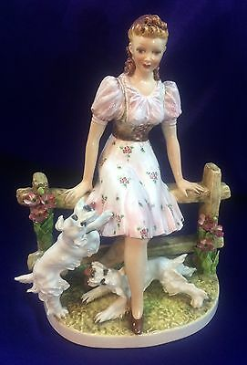 Vintage 1930s Italian Porcelain Figurine Woman Girl with Dogs Hand Painted Italy