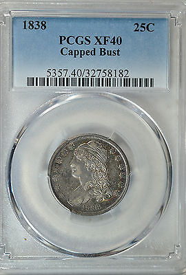 1838 Cappd Bust quarter, PCGS XF40