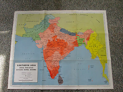 1963 Large Vtg Color Wall Map Southern Asia India Pakistan Ceylon Nepal 594