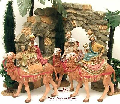 """Fontanini Depose Italy New 5"""" 3 Kings On Camels Nativity Village Figures Mib"""