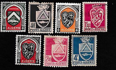 NO 353A - 7 X  ALGERIA STAMPS - 1942,SC #147/158,Coat of Arms - HINGED