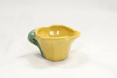 Arts Crafts Rosemeade Yellow Lilly Leaves Green Handled Pottery Creamer