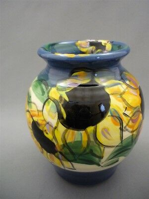 TOLER Laguna Beach Pottery Yellow Sunflowers Hand Painted Vase Pot WOW Colorful