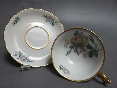 Royal Bayreuth Cup Saucer Grey Rose Pink Center Gold Accent Us Zone Germany