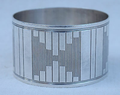 French Art Deco MOdern Style Sterling Silver Napkin Rings Saglier Paris