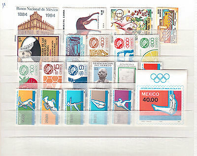 Mexico Lot Of 41 Different Stamps Mint Nh Scott Value Is $32.80 !!