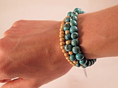 Turquoise Seed (Acai Berry Seed and wood) Bracelet