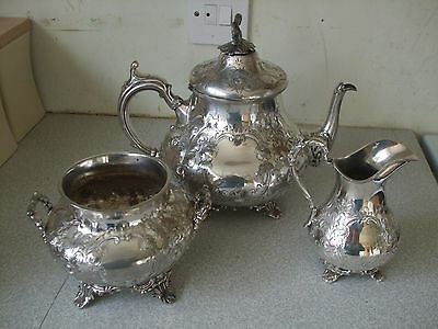 Lovely Ornate Antique Silver Plated Three Piece Tea / Teapot Set-