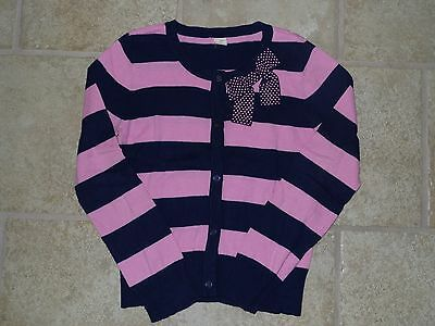 Old Navy girls BLUE/PINK BOW striped CARDIGAN SWEATER large 10/12