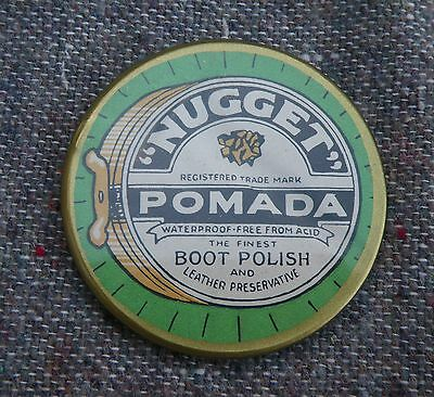 Antique 'nugget' Pomada Boot Polish Celluloid Advertising Pocket Mirror