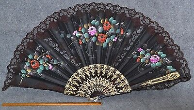 hand fan black hand painted roses lace large 23 in.  Victorian vintage