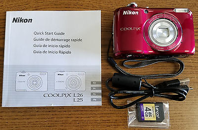 Nikon COOLPIX L26 16.1 MP Digital Camera - Red - EXCELLENT USED