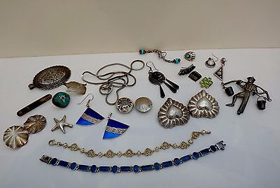 Vintage solid sterling silver mixed jewelry lot 26 pcs 160 gram