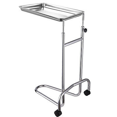 Mobile Mayo Stainless Steel Tray Stand Double-Post  Adjustable Medical Equipment