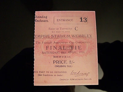 1925 F.A. Cup Final Ticket Sheffield United v Cardiff City Mint condition
