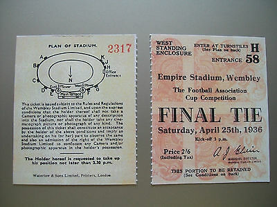 1936 F.A. Cup Final Ticket Arsenal v Sheffield United Mint condition