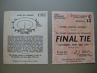 1934 F.A. Cup Final Ticket Manchester City v Portsmouth Mint condition